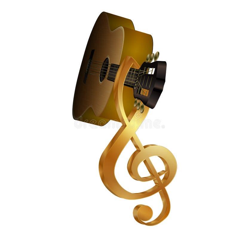 Akustisk gitarr med en G-klav på fretboarden vektor illustrationer
