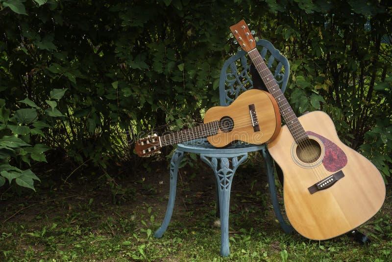 Akustisk gitarr och guitalele royaltyfri fotografi