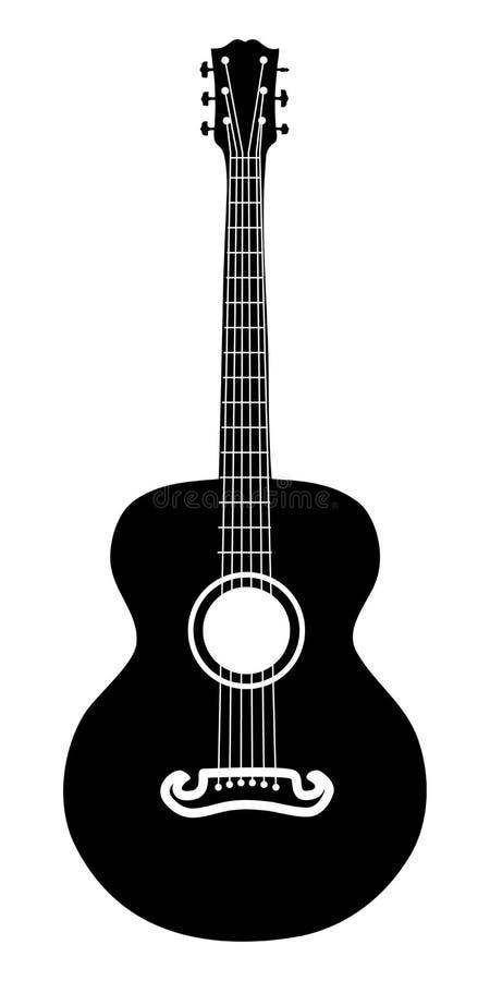 Akustisk gitarrsilhouette royaltyfri bild