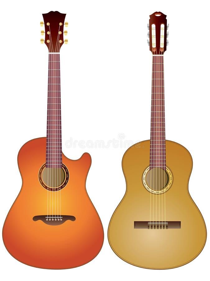 akustiska gitarrer royaltyfri illustrationer