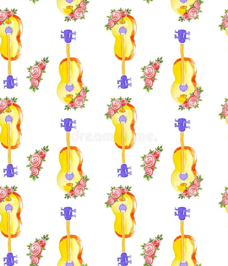 Akustiska klassiska trägula gitarr för sömlös vattenfärgmodell och blommor av tre rosor med sidor som isoleras på stock illustrationer