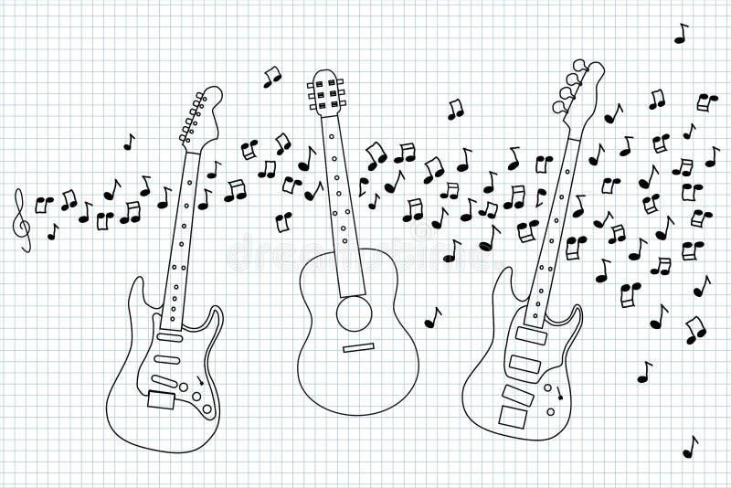 Akustiskt, elkraft och elbas royaltyfri illustrationer