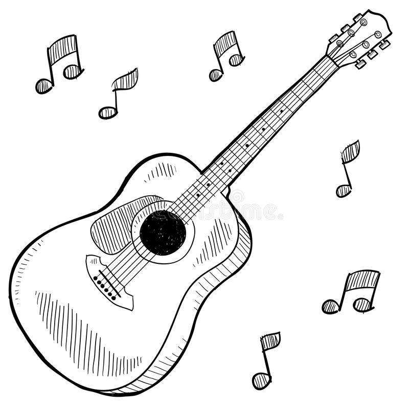 akustyczna rysunkowa gitara royalty ilustracja