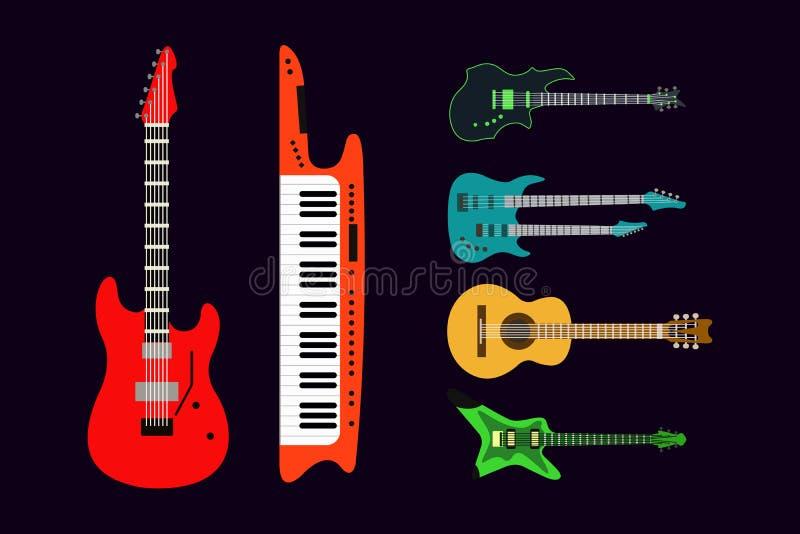 Akustyczne wektorowe ikony ustawiający gitar elektrycznych gitar sylwetki muzyki odizolowywający ilustracyjny koncert brzmi melod ilustracji