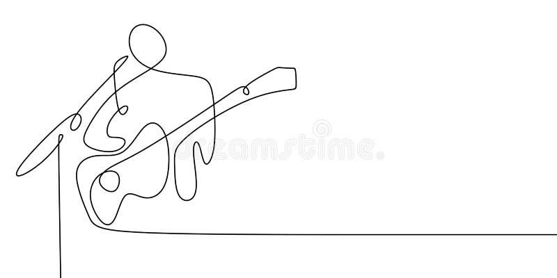 Akustycznego gitarzysty ciągły kreskowy rysunek royalty ilustracja