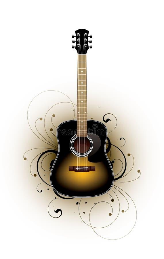 akustycznego projekta kwiecista gitara royalty ilustracja