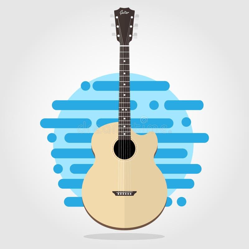 Akustyczny drewniany cutaway gitary mieszkania wektor royalty ilustracja