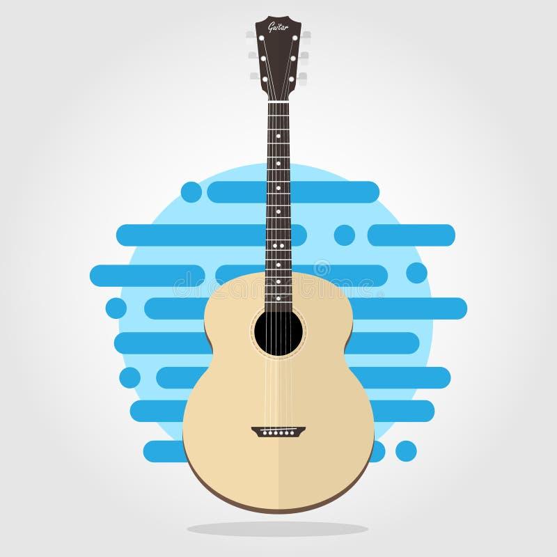 Akustyczny drewniany gitary mieszkania wektor ilustracji