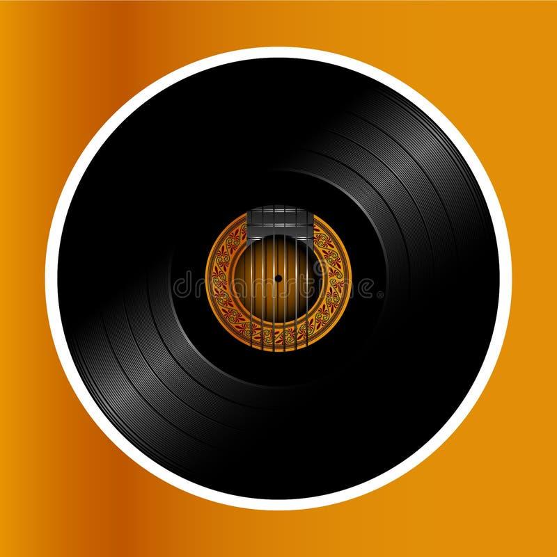 Akustyczny gitar calassic albumowy winylowy dysk ilustracja wektor