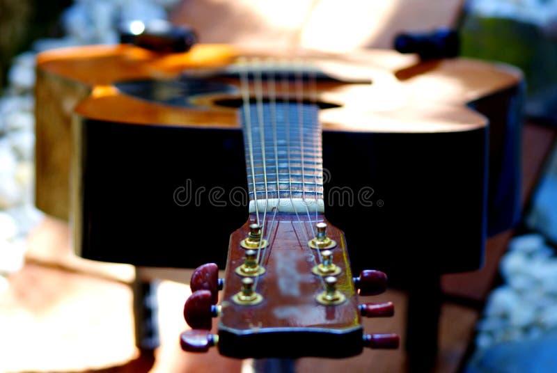 Akustyki gitara odpoczywa w ogródzie obrazy stock