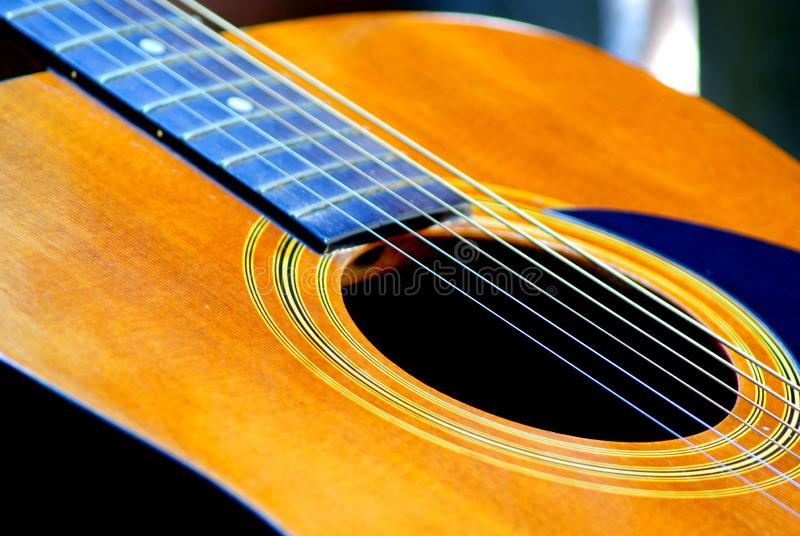 Akustyki gitara odpoczywa w ogródzie zdjęcie stock