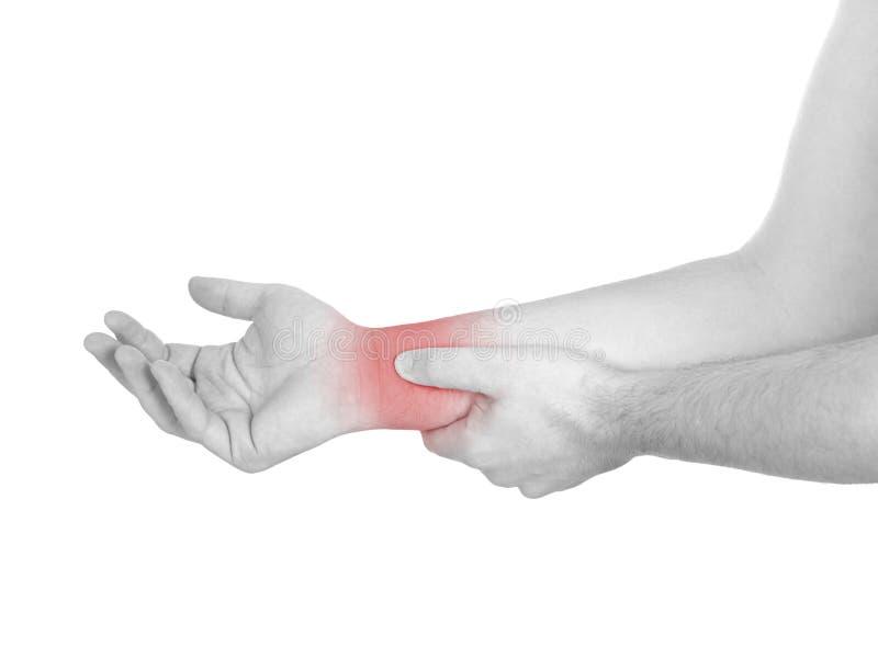 Akut smärta i en manhandled. Manlig innehavhand till fläcken av handledPA fotografering för bildbyråer