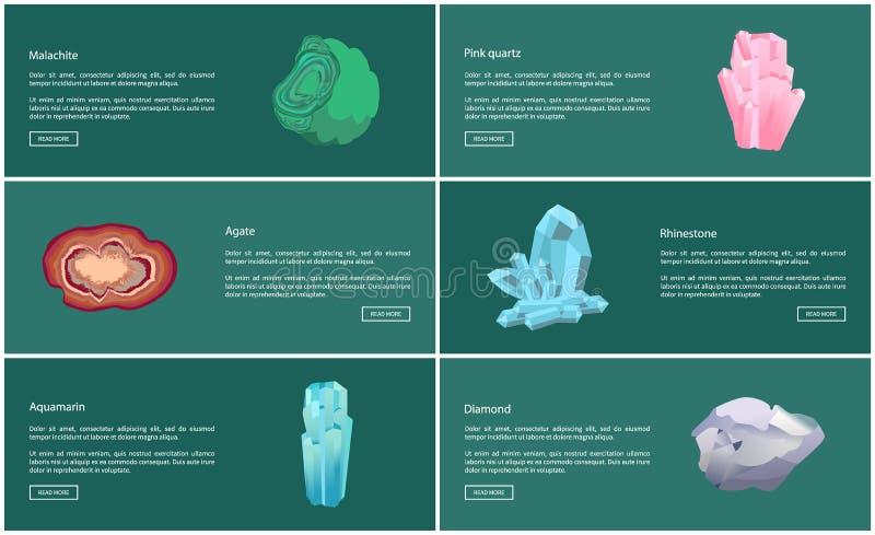 Akvamarinmalakitagat och bergkristall, diamant vektor illustrationer