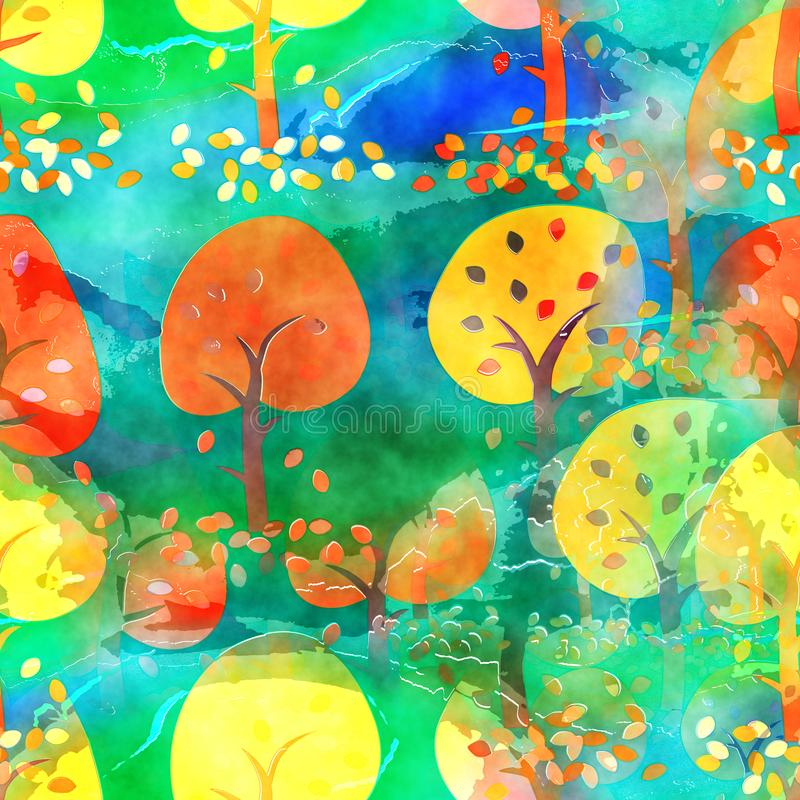 Akvarell Autumn Tree Textile Background royaltyfri illustrationer
