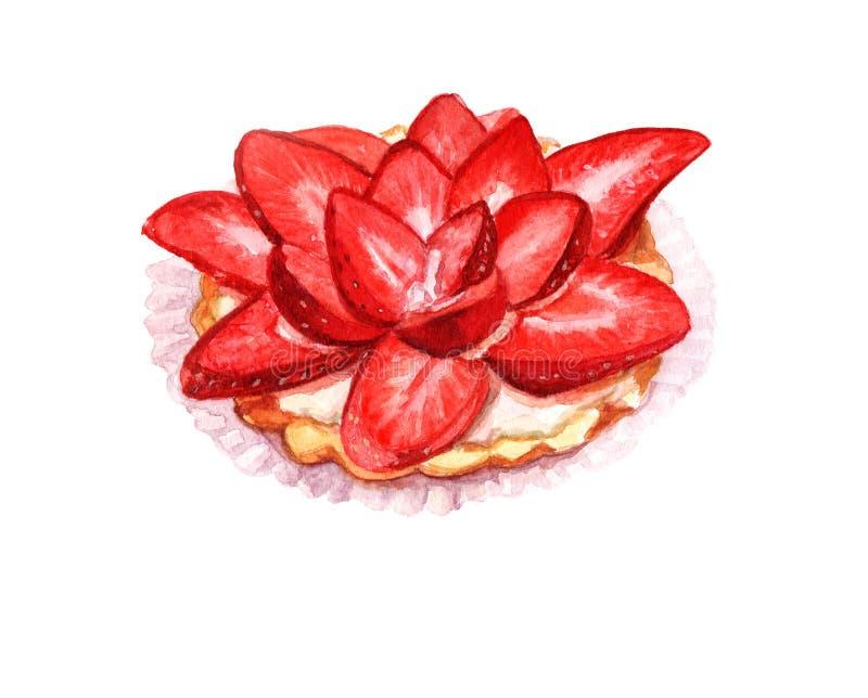 Akvarell som målar den ljusa livliga färgillustrationen av jordgubbekakan Snäsig matstilleben Hand målad isolerad mat stock illustrationer