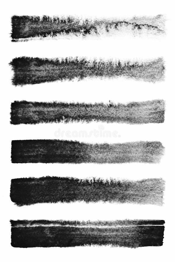akvarell Uppsättning av bakgrunder för slaglängd för abstrakt begreppsvartvattenfärg royaltyfri foto