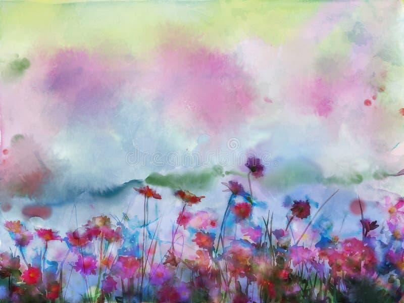 Akvarellen blommar målning Blommor i mjuk färg- och suddighetsstil vektor illustrationer
