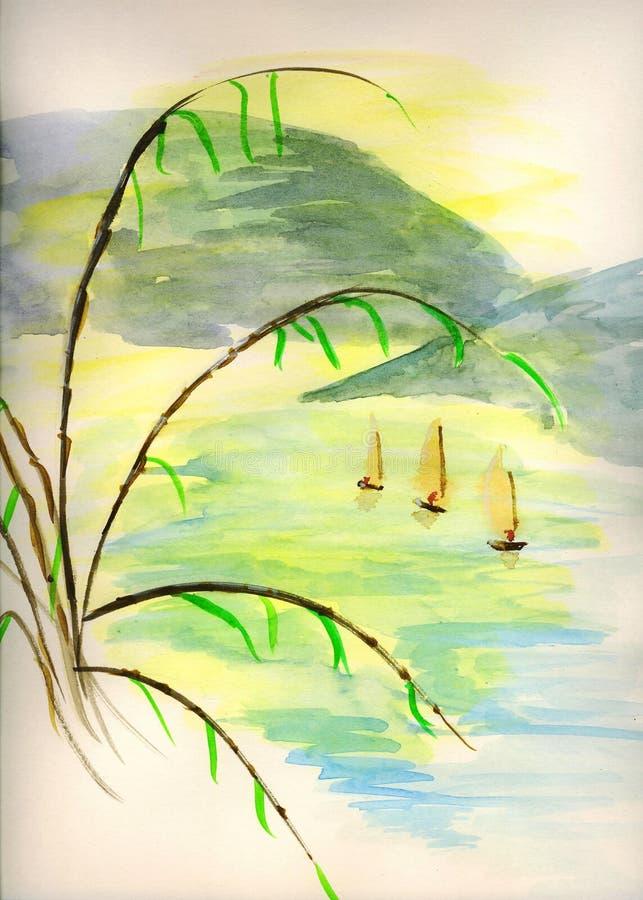 Akvarellen skissar av orientaliska fiskebåtar arkivbild