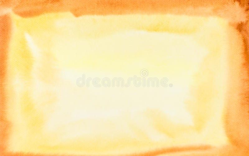 Akvarellguling och orange ram, konsttexturbakgrund royaltyfria foton
