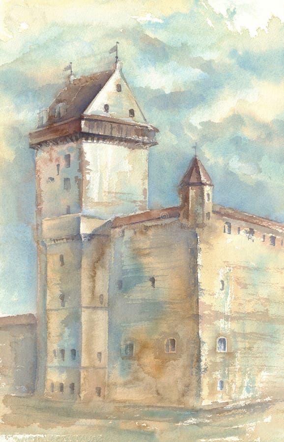 Akvarellmålning av den medeltida slotten vektor illustrationer