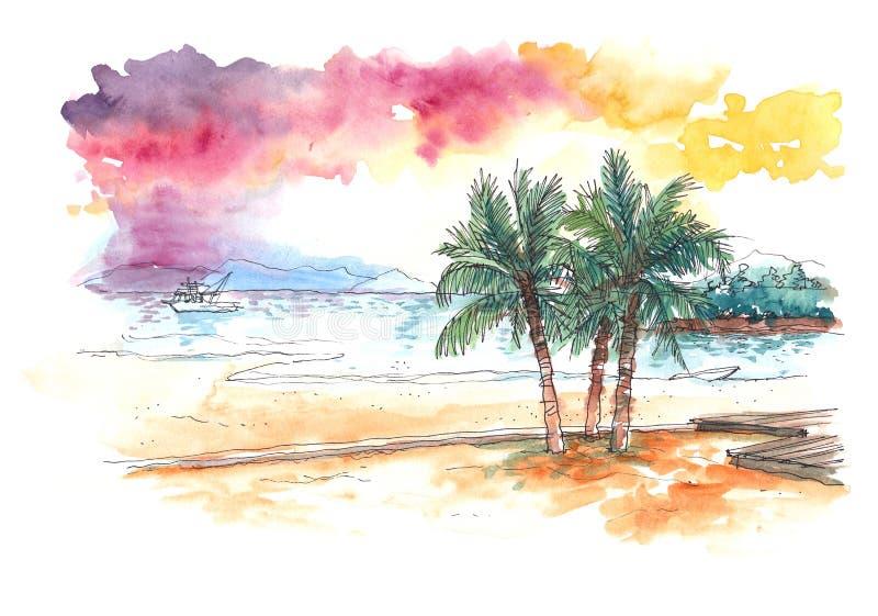 Akvarellmålning av solnedgången på den tropiska stranden royaltyfri illustrationer