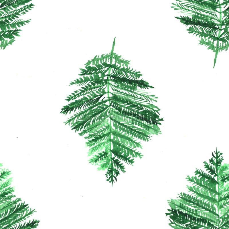 Akvarellmodell med gröna sidor Färgrikt tryck med hand målade beståndsdelar abstrakt bakgrund royaltyfri illustrationer