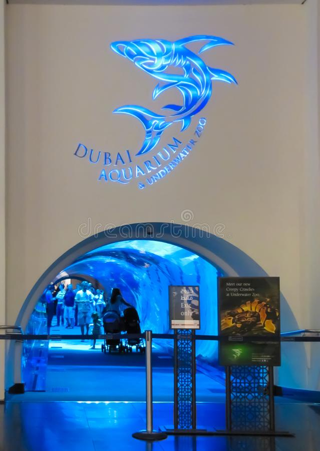 Akvarium i den Dubai gallerian royaltyfri fotografi