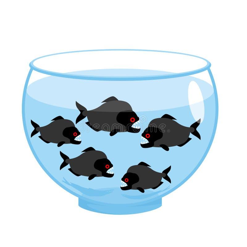 Akvarium med piranhas Farlig ond toothy fisk royaltyfri illustrationer