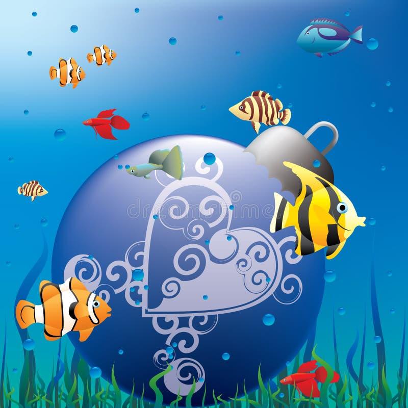 akvariumjul royaltyfri illustrationer