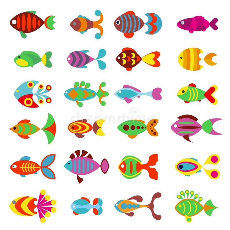 Akvariumlägenhetstil fiskar vektorsymboler vektor illustrationer