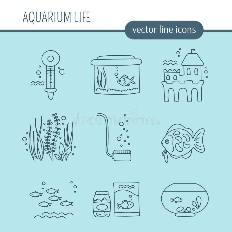 Akvariumomsorguppsättning royaltyfri illustrationer