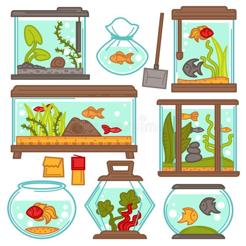 Akvariumsymboler ställer in med tropiska fiskar och planterar vektorutrustningdesign stock illustrationer