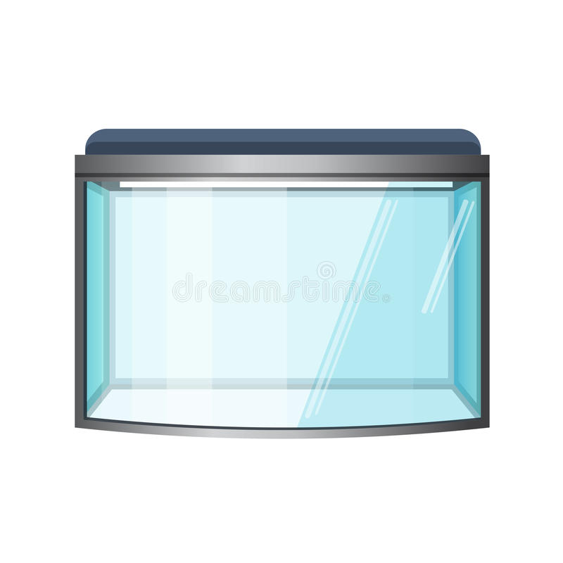 Akvariumvektor som isoleras på vit Fiskbehållare, främre sikt royaltyfri illustrationer