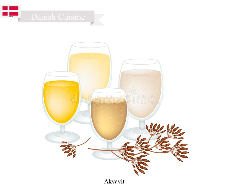 Akvavit or Aquavit, A Traditional in Denmark. Danish Cuisine, Akvavit or Aquavit or Traditional Liquor Aromatic Flavourings with Caraway or Cumin Seed, Lemon or vector illustration