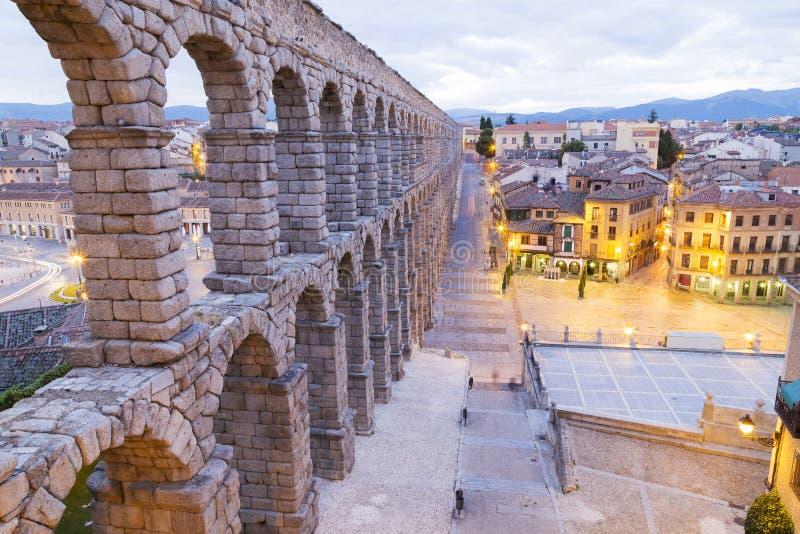 Akvedukt i Segovia, Castilla y Leon, Spanien arkivbilder