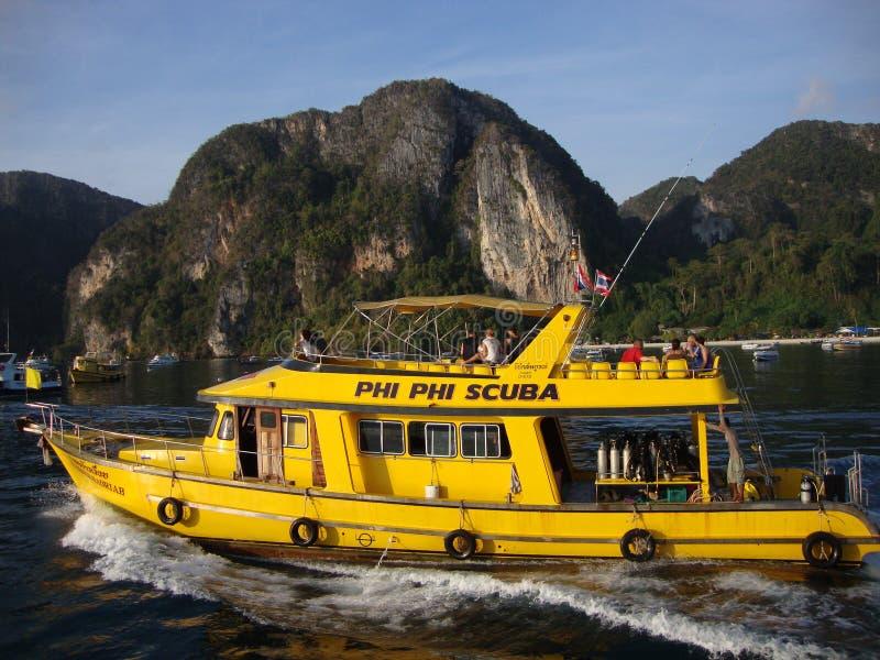 Akwalung łódź. obraz royalty free