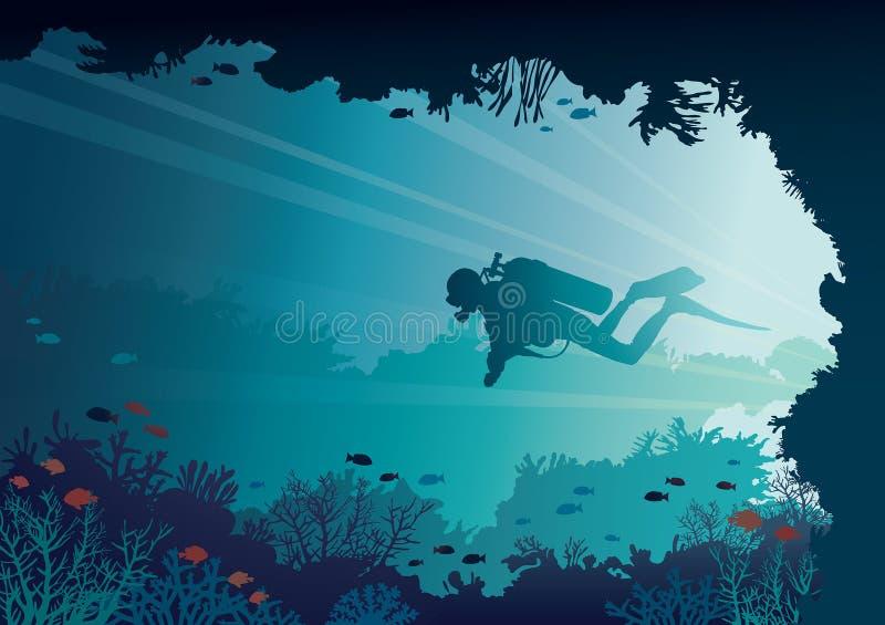 Akwalungu nurek, podwodna jama, korale, morze ilustracja wektor
