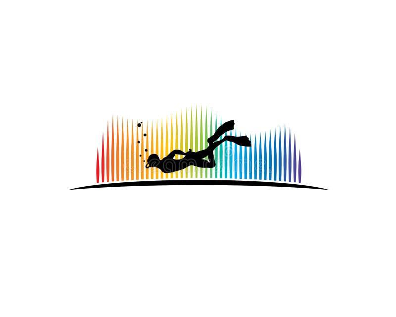 Akwalungu nurka pikowanie głęboko pod aurora borealis ilustracja wektor