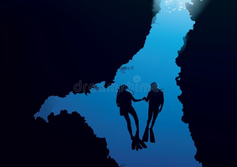 Akwalungu oceanu wektor royalty ilustracja