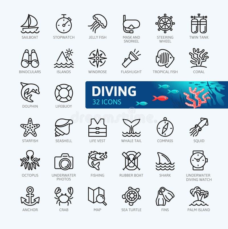 Akwalungu pikowanie i Snorkeling - minimalny cienieje kreskowego sieci ikony set Kontur ikony inkasowe ilustracja wektor