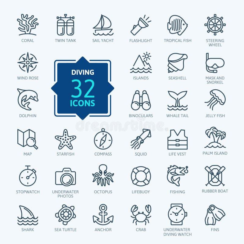 Akwalungu pikowanie i Snorkeling - minimalny cienieje kreskowego sieci ikony set Kontur ikony inkasowe royalty ilustracja