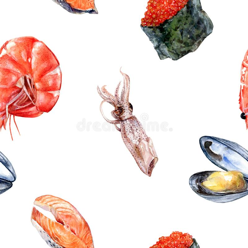 Akwarela łosoś, kałamarnica, garnela, suszi kawior odizolowywał bezszwowego wzór ilustracji