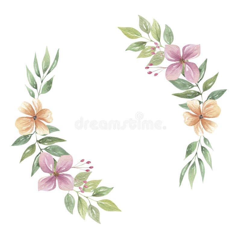 Akwarela łuków Różowy Artystyczny wianek Kwitnie Kwieciste girland purpury Boho royalty ilustracja