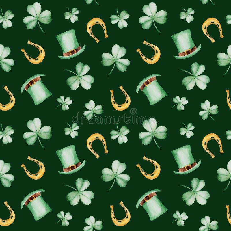 Akwarela świętego Patrick ` s dnia wzór z podkową i kapeluszem koniczynowej tło projektu zielone ornamentu wektor ilustracyjny Dl ilustracja wektor