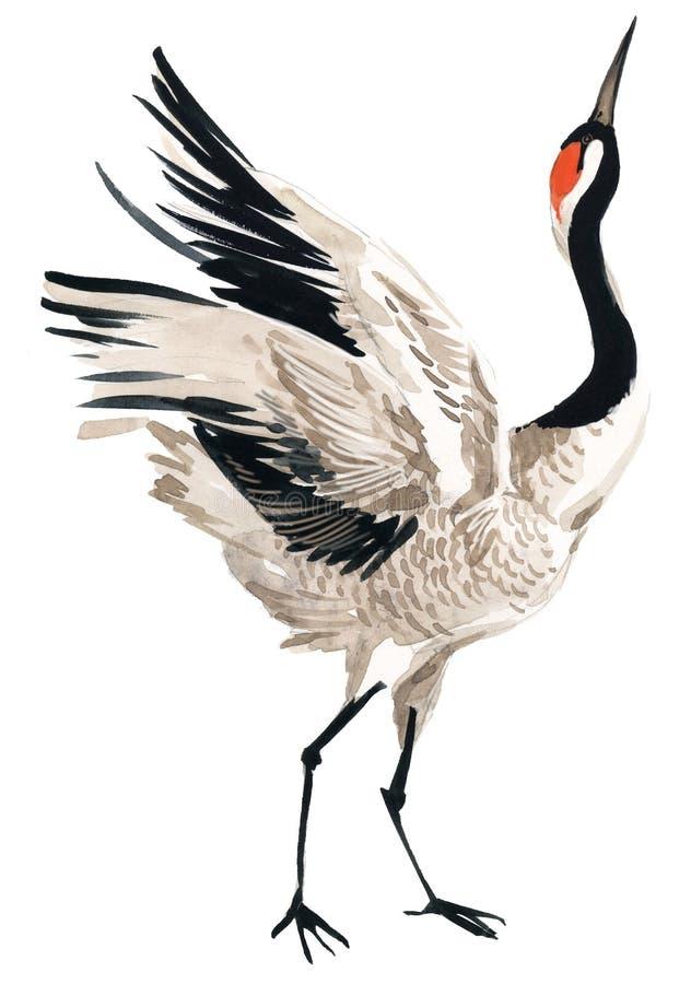 Akwarela żurawia ptak royalty ilustracja