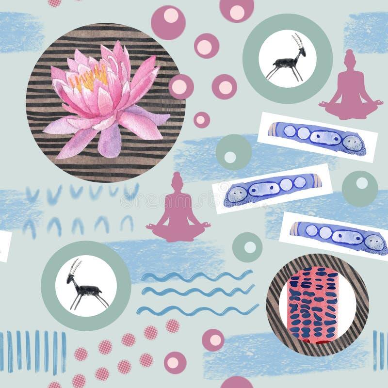 Akwarela abstrakcjonistyczni bezszwowi deseniowi lotosowi kwiaty i geometryczna postać royalty ilustracja