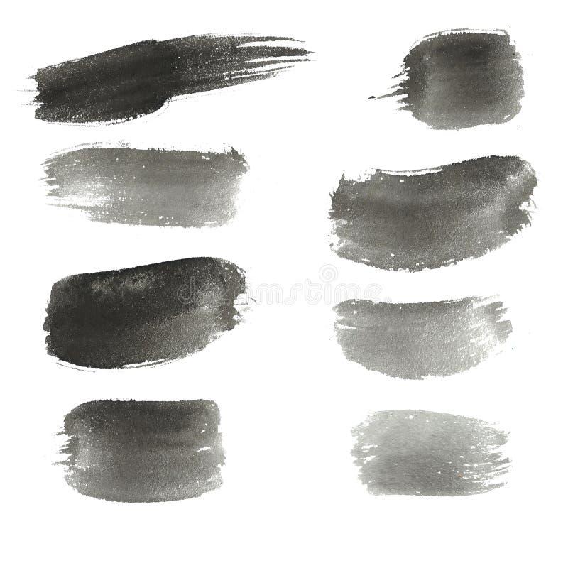 akwarela abstrakcyjna tło Atrament czarnej ręki rysujący elementy, muskają, okrążają, linie, punkty royalty ilustracja