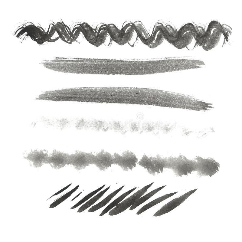 akwarela abstrakcyjna tło Atrament czarnej ręki rysujący elementy, muskają, okrążają, linie, punkty ilustracja wektor
