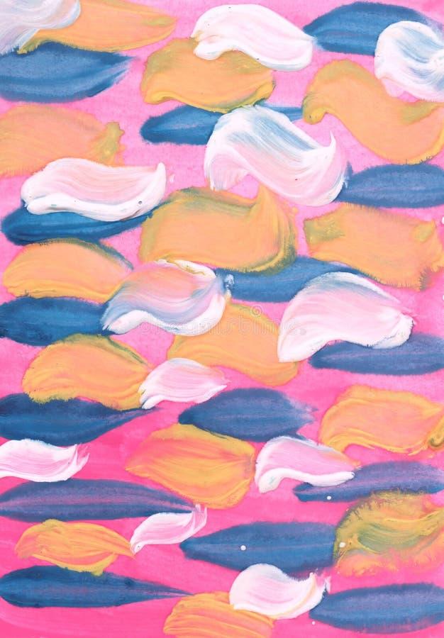 akwarela abstrakcyjna t?o Na różowym tle ciekawi błękita, koloru żółtego i bielu muśnięcia uderzenia, ilustracji