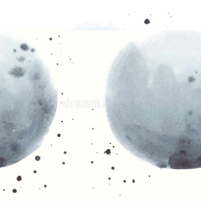 Akwarela abstrakta popielata plama robić w wektorze ilustracji